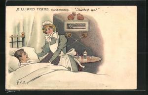 AK Kranker Mann im Bett blickt zu einem Bild mit einer Billard-Szene