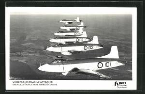 AK Flugzeug Vickers Supermarine Attacker flying in formation