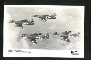 AK Flugzeug Hawker Hunter, one Rolls-Royce Avon Turbojet, in the air