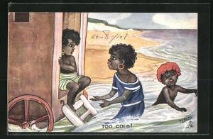AK Too Cold, Afrikanische Kinder beim Baden