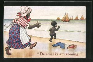 AK De smacks am coming, Afrikanische Mutter mit Kind am Strand