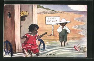 AK A Man, Afrikanische Frauen entdecken einen Jungen am Damen-Badestrand