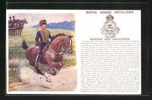 AK Royal Horse Artillery, Britische Soldaten in Uniformen zu Pferde