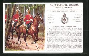 AK 6th Inniskilling Dragoons, Battle Honours, Britische Soldaten in Uniformen zu Pferde