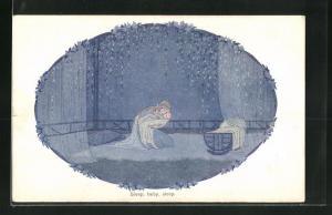 Künstler-AK Henriette Willebeek le Mair: Sleep, baby, sleep, Mutter wiegt ihr Kind