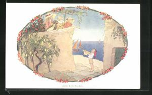 Künstler-AK Henriette Willebeek le Mair: Little Tom Tucker, Kinder geben dem Jungen Brot