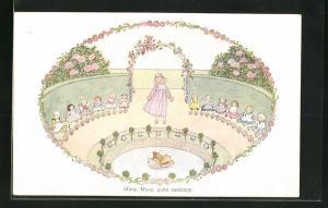 Künstler-AK Henriette Willebeek le Mair: Mary, Mary, quite contrary, Mädchen mit Puppen