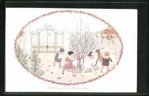 Künstler-AK Henriette Willebeek le Mair: Here we go round the Mulberry Bush, Kinder spielen im Garten