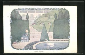 Künstler-AK Henriette Willebeek le Mair: Goosey Gander, Mädchen am Teich