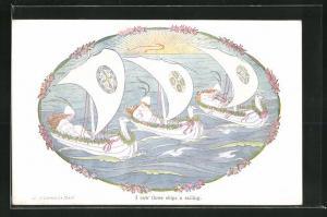 Künstler-AK Henriette Willebeek le Mair: I saw three ships a sailing, Drei Boote mit jungen Frauen