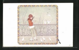 Künstler-AK Henriette Willebeek le Mair: The Doves` dinner time, Mädchen füttert die Tauben
