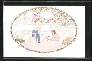 Künstler-AK Henriette Willebeek le Mair: I love little pussy, Kinder geben kleiner Katze Milch