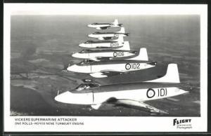 AK Vickers Supermarine Attacker, britische Kampfflugzeuge in Formation