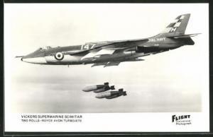 AK Vickers Supermarine Scimitar, britisches Kampfflugzeug wirft Bomben ab