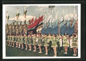 AK Moskau, Turnfest 1954, junge Turnerinnen