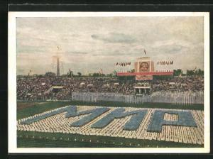 AK Moskau, Turnfest 1954, Panorama aus dem Stadion