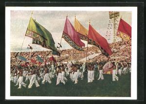 AK Moskau, Turnfest 1954, Fahnenträger im Stadion