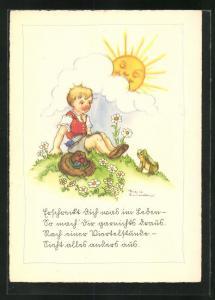 Künstler-AK Liesel Lauterborn: Kind und Frosch