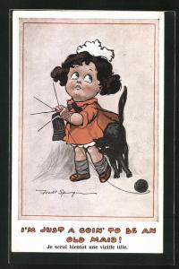 Künstler-AK Fred Spurgin: I`m just a goin` to be an old Maid, Mädchen und schwarze Katze