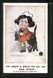 Künstler-AK Fred Spurgin: I`m just a goin` to be an old Maid, schwarze Katze