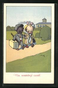 Künstler-AK Na svatebni ceste, kleines Paar mit unterschiedlicher Hautfarbe