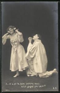 AK Il a pul la faire sourure mais..., Pierrot und Angebetete