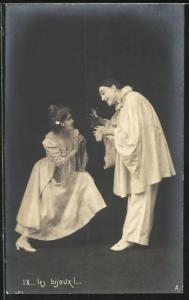 AK Les bijoux......, Pierrot und Angebetete