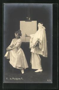 AK La Peinture?..., Pierrot und Angebetete