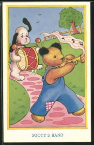 AK Sooty`s Band, Teddy und Hund mit Trommel und Trompete