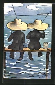 Künstler-AK Fishing, angelnde Nackedeis