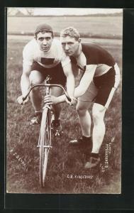 Foto-AK Radrennfahrer A. J. Denny und C. B. Kingsbury