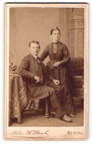 Fotografie H. Strube, Zittau, Portrait bürgerliche Eheleute