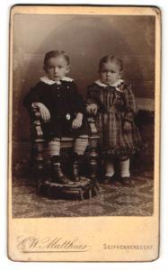 Fotografie E. W. Matthias, Seifhennersdorf, Portrait bezauberndes kleines Kinderpaar in hübscher Kleidung