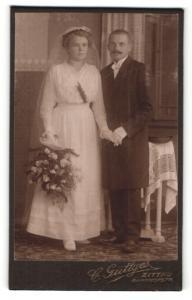 Fotografie C. Güttges, Zittau, Portrait Braut und Bräutigam, Hochzeit