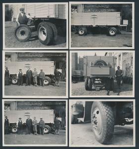 6 Fotografien Lastwagen-Anhänger wird von Vollgummi auf moderne Reifen umgerüstet