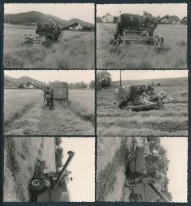 6 Fotografien Mähdrescher Mc Cormick, Bauer mit Landmaschine bei der Getreideernte