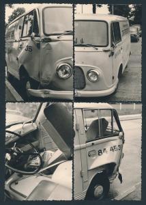 4 Fotografien Transporter Ford Transit, Kastenwagen nach einem Unfall, Detailaufnahmen
