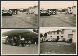 4 Fotografien Esser, Solingen, Ansicht Solingen, Merscheider Str. 99, Autos auf der Tankstelle von August Esser
