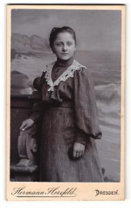 Fotografie Hermann Herzfeld, Dresden, Portrait bezauberndes Mädchen im hübsch besticktem Kleid