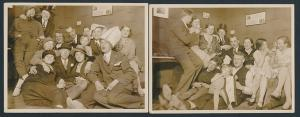 2 Fotografien Karneval-Fasching in kleinem Keller-Raum, Frauen tragen Männer-Kostüm Herren-Bekleidung