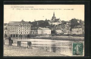AK Gray, La Saone-Les Grands Moulins et Panorama de la Ville