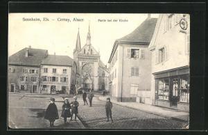 AK Sennheim i.Els.-Cernay, Partie bei der Kirche