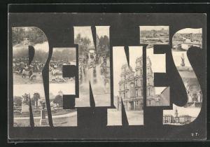 AK Rennes, Ansichten in den Ortsbuchstaben