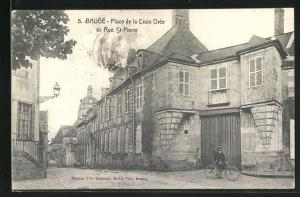 AK Baugè, Place de la Croix Orèe et Rue St-Pierre