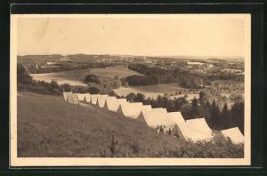 AK Meymac, Camp de la Feuillade, vue sur les monts du Cantal