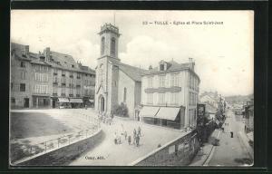 AK Tulle, Eglise et Place Saint-Jean