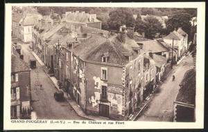 AK Grand-Fougeray, Rue du Chateau et rue Feart avec Boutique