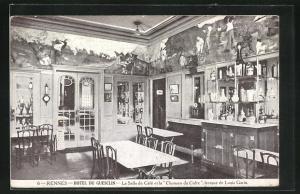 AK Rennes, Hotel du Guesclin, La salle de cafe et la Chanson du Cidre