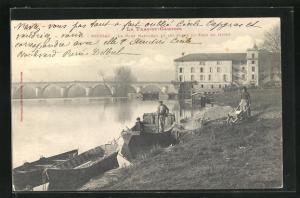 AK Moissac, Le Pont Napoleon et les Bords du Tarn en hiver