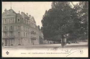 AK Chatellerault, L`Hotel Moderne et la Promenade